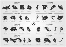 Fußball- oder Fußballpokal-Teamgruppensatz. Silhouette Landkarte mit Ball. Vektor für das internationale Weltmeisterschaftsturnier 2018.