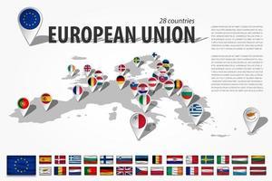 Europäische Union 28 Länder und GPS-Navigator-Standort-Pin mit Nationalflagge auf der Perspektivenkarte des europäischen Kontinents. und Satz von wellenförmigen Flaggenelementen Mitgliedschaft in der EU. Vektor. vektor