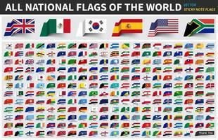 alle offiziellen Nationalflaggen der Welt. Haftnotiz-Design. Vektor. vektor