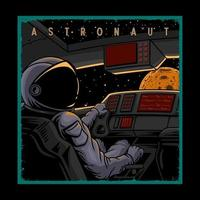 Illustration Astronaut auf einem Raumschiff vektor