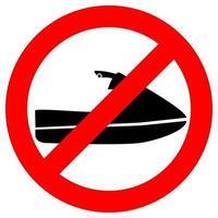 Nicht-Jet-Ski-Symbol. Wasserscooter keine Fahrt. kein Jet-Ski-Zeichen im Glyphen-Stil, isoliert auf weißem Hintergrund. Vektor