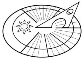 Sonnenuhr. solares Zifferblatt. Sonnenuhr. Uhrsymbol im Umriss-Stil isoliert auf weißem Hintergrund vektor