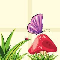 Pilz, Schmetterling und Marienkäfer vektor
