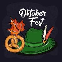 oktoberfest mit tiroler hut, brezel und herbstblatt vektor