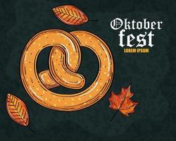 oktoberfest bierfest mit leckerer brezel und herbstlaub vektor
