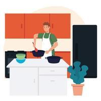 Mann kocht mit Schürze in Szeneküche mit Schubladen, Kühlschrank und Zubehör vektor