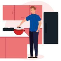 Mann kocht in Szeneküche mit Schubladen, Kühlschrank und Zubehör fridge vektor