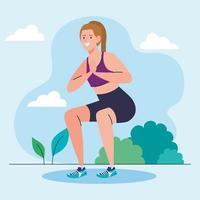 Frau macht Kniebeugen im Freien, Sporterholungsübung vektor