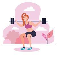 Frau macht Kniebeugen mit Hantelstange im Freien, Sporterholungsübung vektor
