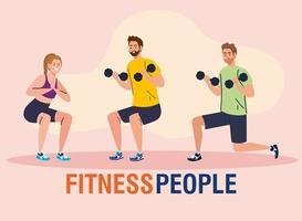 Gruppe von Fitnessleuten, junge Leute, die Bewegung üben vektor