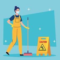 Reinigungskraft mit medizinischer Maske mit Ausrüstung, Hausmeisterin mit medizinischer Maske mit Besen und Beschilderung Vorsicht vektor