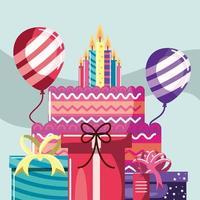 Geburtstagstorte und Kerzen vektor