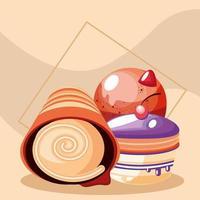 Dessertrolle und Cupcakes vektor