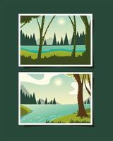 Landschaften mit Fluss, der im Wald fließt flowing vektor