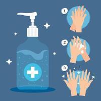 Pumpflaschendesinfektionsmittel, Waschgel, Selbstschutz gegen Covid 19 vektor