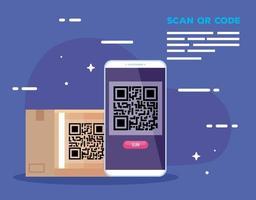 Smartphone mit Scancode qr und Karton vektor