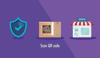 QR-Code in Karton und Symbolen scannen vektor