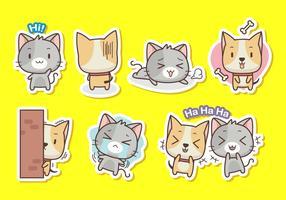 Katt och hund klistermärke samling