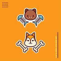 Katt och hund klistermärken vektor