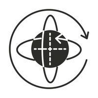 Augmented Reality 360-Grad-Rotationsachsen-Silhouette-Stil vektor