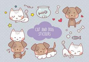 Netter Katzen- und Hundeaufkleber vektor