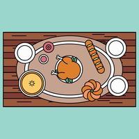 Skisserat Thanksgiving Table vektor