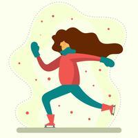 Flache weibliche Spiel-Eislauf-Vektor-Illustration vektor