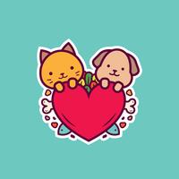 Katzen- und Hundeaufkleber-Vektor