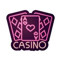 Casino Pokerkarten Asse Glücksspiel Leuchtreklame vektor