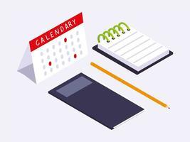 Büroarbeitsplatz, Notizbuch, Kalender, Notizblock und Bleistift vektor