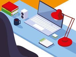 Home-Office-Arbeitsplatz, Schreibtisch, Laptop, Lampe, Notizblock, Bücher und Kaffeetasse vektor