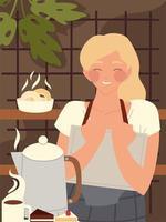 Restaurant glücklicher Mitarbeiter mit Speisekarte, Wasserkocher und Kuchen vektor