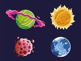 Weltraumplaneten, Sonne, Asteroid, Astronomiegalaxie vektor