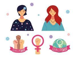 Frauentag, Porträt des weiblichen Cartoongeschlechts des Charakters und erhobene Hände, Mädchenpower vektor