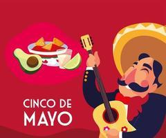 Cinco de Mayo Grußkarte mit mexikanischen Mariachi vektor