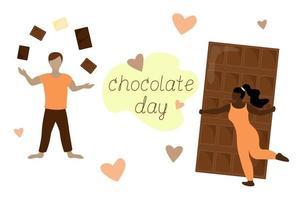 Schokoladen-Tages-Urlaubsplakat. Frau umarmt Schokoriegel. Mann jongliert die Stücke. Schriftzug auf weißem Hintergrund. Vektor-Illustration vektor