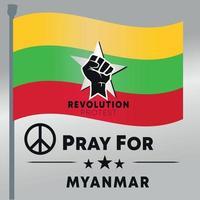 Massenprotest in Myanmar Flag Pole Stop Diktatur Revolution Hand Logo Propaganda 2021 Symbol Symbol Logo mit Friedenslogo vektor