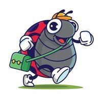 Cartoon süße große Augen Marienkäfer mit gelber Mütze tragen Schultasche bereit zurück zur Schule vektor