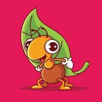 süße Ameisenzeichentrickfigur mit einem Lächeln, das ein großes grünes Blatt trägt vektor