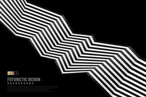 abstraktes schwarz-weißes Zickzack-Linienmuster auf dunklem Hintergrund mit Kopienraum. moderne futuristische Vorlage. Vektor-Illustration vektor