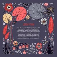 Platz für Ihren Text umgeben von Pflanzen und Blumen vektor