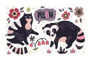 Vektor flach handgezeichneter Waschbär und Katze mit Pflanzen und Blumen