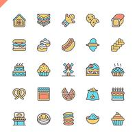 Flache Linie Bäckereishop-Elementikonen stellte für Website und beweglichen Standort und apps ein. Umreißen Sie Ikonenentwurf. 48x48 Pixel Perfekt. Lineare Piktogrammpackung Vektor-illustration