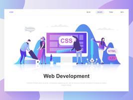 Modernes flaches Designkonzept der Webentwicklung. Zielseitenvorlage. Moderne flache Vektorillustrationskonzepte für Webseite, Website und bewegliche Website. Einfach zu bearbeiten und anzupassen.