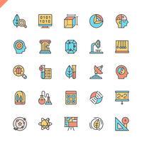 Flache Linie Wissenschaft, Icons für wissenschaftliche Aktivitätselemente für Website und mobile Website und Apps. Umreißen Sie Ikonenentwurf. 48x48 Pixel Perfekt. Lineare Piktogrammpackung Vektor-illustration
