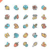 Innehåller ikoner för platta nötter, frön och bönor för webbplats och mobila webbplatser och appar. Översikt ikoner design. 48x48 Pixel Perfect. Linjärt piktogrampaket. Vektor illustration.