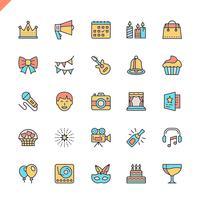 Flache Linie Partei, Geburtstag, Feierelementikonen stellte für Website und bewegliche Site und apps ein. Umreißen Sie Ikonenentwurf. 48x48 Pixel Perfekt. Lineare Piktogrammpackung Vektor-illustration