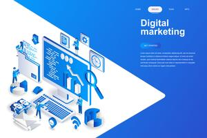 Isometrisches Konzept des modernen flachen Designs des Digital-Marketings. Werbung und People-Konzept. Zielseitenvorlage. Isometrische Begriffsvektorillustration für Netz und Grafikdesign. vektor