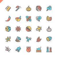 Flache Linie Gewürze, Gewürze und Kräuterikonen stellten für Website und bewegliche Site und apps ein. Umreißen Sie Ikonenentwurf. 48x48 Pixel Perfekt. Lineare Piktogrammpackung Vektor-illustration