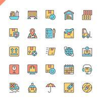 Flache Linie Logistik, Lieferung, Transportikonen stellten für Website und bewegliche Site und apps ein. Umreißen Sie Ikonenentwurf. 48x48 Pixel Perfekt. Lineare Piktogrammpackung Vektor-illustration vektor